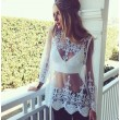 Lace Perspective Gauze Long-sleeve Embroidered Round-neck Sexy Blouse