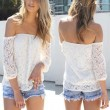 Unique Crochet Hollow Boat Neck long-sleeved T-shirt