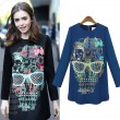 Fashion Skull Printed Glassses Back Zipper Dress