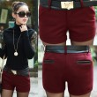 Elegant Leather Stitching Woolen Shorts