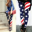Retro Sexy Stretch US American Flag Tights  Leggings