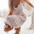 Fresh Hollow Lace Halter Women Party Sling Backless Summer Dress
