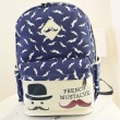 Lovely Moustache College Canvas Backpack