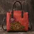 Retro Handmade 3D Peony Handbag Leisure Flower Leather Shoulder Bag