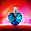 Blue Ocean Heart Crystal 925 Sterling Silver Pendant