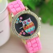 Lovely Owl Rhinestone Silicone Girl Watch