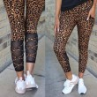 Sexy Wild Leopard Splicing High Waist Yoga Pants Women's Leggings