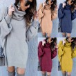 New Pure Color Autumn Winter Loose Long Turtleneck Sweater Dress Women Coat