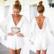 Sexy V-neck Halter White Lace Jumpsuit&Romper