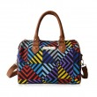 Funky Fashion Hit Color Geometry Canvas PU Leather HandBag Shoulder Bag Diagonal Package