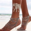 Retro Crystal Silver Multi-Chain Water Droplets Tassels Anklet
