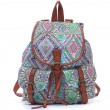 Fresh College Floral Geometry Pattern Canvas School Backpack Travel Rucksack