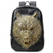 Cool Wolf Head Rivets Large 3D Animal Punk PU Stereo Ferocious School Backpack