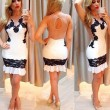Sexy Backless Tight-fitting Sleeveless Women's Splicing Black Lace Skirt Dress