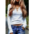 Casual Long-sleeved Striped Cross Strap T-shirt
