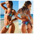 Braided Straps Bikini Flowers Triangle Swimsuits Bikini Set