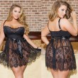 Sexy Large Women Sleepwear Hollow Sling Lady Flower Lace Nightdress Lingerie