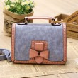 Retro Contrast Color Bow Hollow Messenger Bag&Handbag