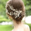 Sweet Bridal Hairpin Flower Branch Leaves Crystal Pearl Wedding Hair Band Hair Accessories