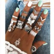 Retro Butterfly Elephant Feather Leaves 12 Piece Set Combination Women Rings