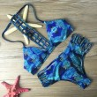 Feather Printed Bikini Set Swimwear Grid Swimsuit Bathingsuit
