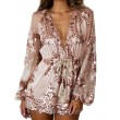 Sexy Glitter Sequin Rose Flower Gold V Neck Long Sleeve Dress