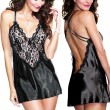 Sexy Baby Doll Sleepwear Women's V-neck See Through Lace Splicing Silk Backless Dress Slip Dress Lingerie