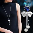 Unique Cloverleaf Shape Crystal Diamond-bordered Pearl Pendant Lucky Sweater Chain Necklace