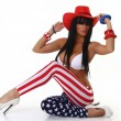 New American Flag Stars Stripes Printing Ninth Women Leggings