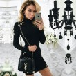 Sexy  Long-sleeved Slim Small High-necked Dress One-step Skirt