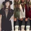 Sexy Crossover Strap V-neck Loose T-shirt Women's Chest Hollowed-out Dress