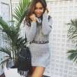 Fashion High-necked Long-sleeved Sexy Sweater Dress