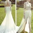 Women's Lace Chiffon Embroidery Party Dress Look Full-length Slit Evening Dress