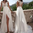 Fashion Sexy Lace Split Evening Dress Mesh Perspective Prom Long Bridesmaid Dress