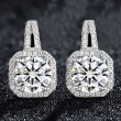 Elegant Silver Luxury Diamond-bordered Octagon Women's Earring Studs