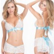 Sexy Lady's White V-neck Lace Splicing Ribbon Uniform Temptation Hollowed-out See Through Backless Sexy Suit Lingerie