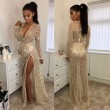 Sexy Sequin Long Prom Dress Women's V-neck Bead Tassels Beach Dress