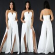 Sexy Women's Boat Neck V-neck Front Slit Loose Pants Jumpsuit Dress