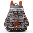 Unique Geometric Elephant Patterns Splicing PU Belt 3 Pockets Animal Totem Canvas School Backpack
