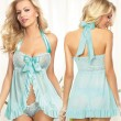 Sexy Bow Lace Pajamas Women Perspective Dress Lingerie