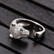 Cute Silver Leopard Adjustable Diamond Animal Open Ring