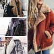 Fashion Turnover Collar Short Fur Winter Warm Women's Coat