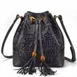 Retro Oracle Embossing Messenger Bag Tassel Ancient Script  Cowhide Vintage Shoulder Bag