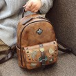 Retro Badge Rivet Single Buckle British Style Student Bag Vintage School PU Backpack