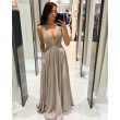 Fashion Shining Deep V Neck Sleeveless Backless Straps Gather Chest Party Evening Gown Bridesmaid Maxi Dress