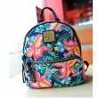 Fashion Rivet Floral Printing Canvas Backpack