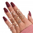Unique Rhinestone Gem 17 Set Finger Women Rings