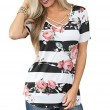 Fashion Women's Cross V Neck Flower Print Casual Summer T-Shirt