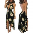 New Women's Breasts Skirt Bohemian Flower Backless Dress Short Front Long Dress