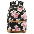 Fresh Floral USB Interface Rose Canvas Laptop Backpack  Large Flower Middle School Bag Student Backpack
